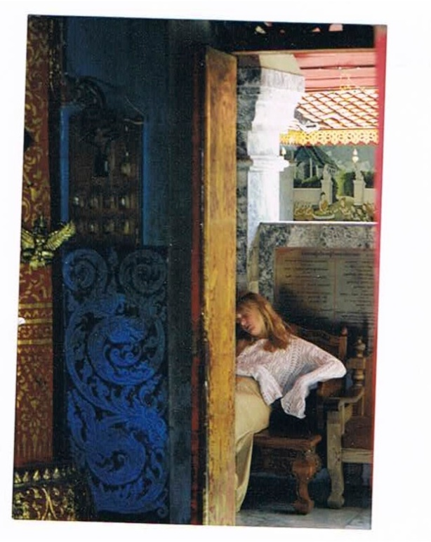 Thai Temple, woman sleeping