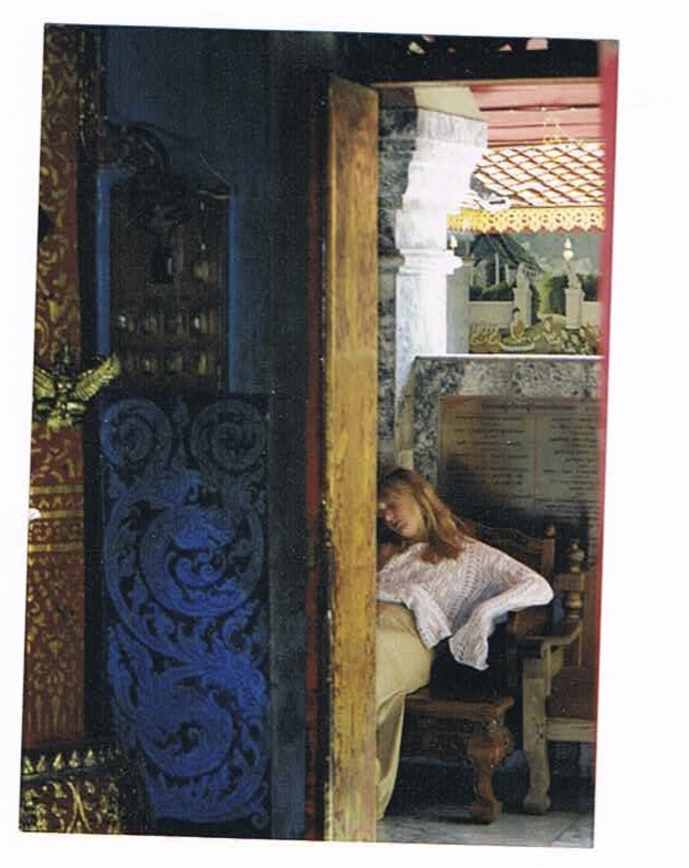 Thai Temple, woman sleeping